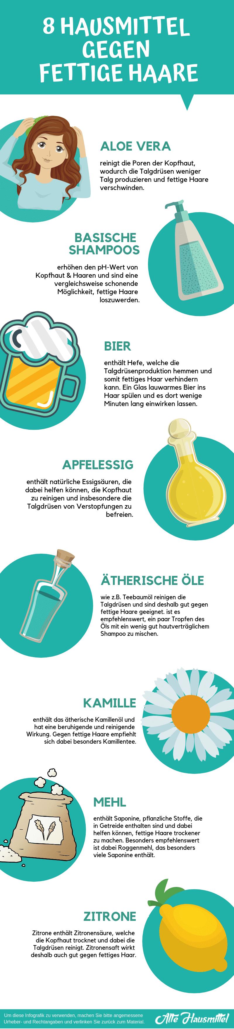 Hausmittel gegen fettige Haare Infografik